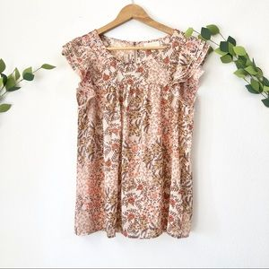 ModCloth pink floral ruffle sleeve blouse